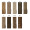 Colour swatch of timber samples showing the nine different colour options available in the exterior oil,