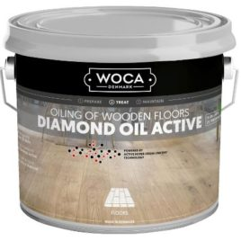 Product name - Diamond Oil Active above an image of light oak flooring finished in this floor finishing oil
