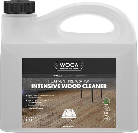 Strong white plastic container with a label showing an image of a timber floor looking slightly stripped after cleaning with this product