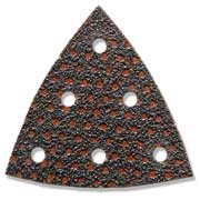 Triangular shaped brown abrasive with 6 holes