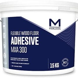White Plastic 15 KG with Flexible Wood Floor Adhesive labelled on a navy blue backround