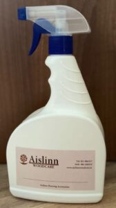 White plastic bottle with blue cloloured spary trigger. Includes label to fill in